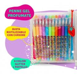 12 Penne Gel Glitter +...