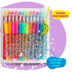 12 Penne Gel Glitter + Fluo...